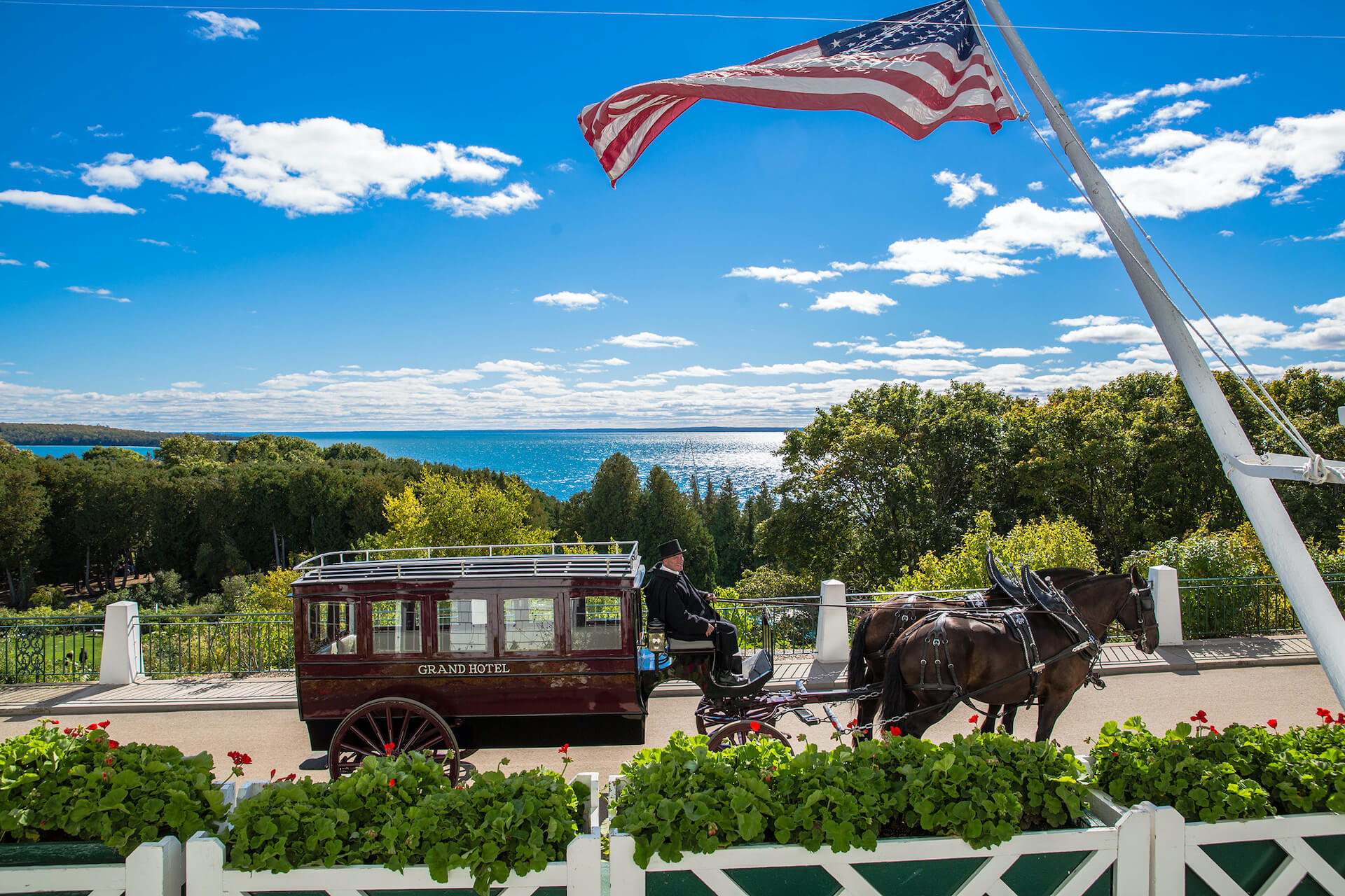 Horse and carriage overlooking Lake Michigan