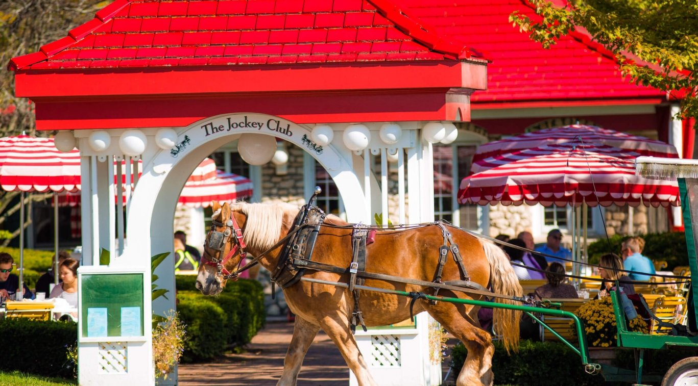 Exterior of Jockey Club with horse drawn carriage