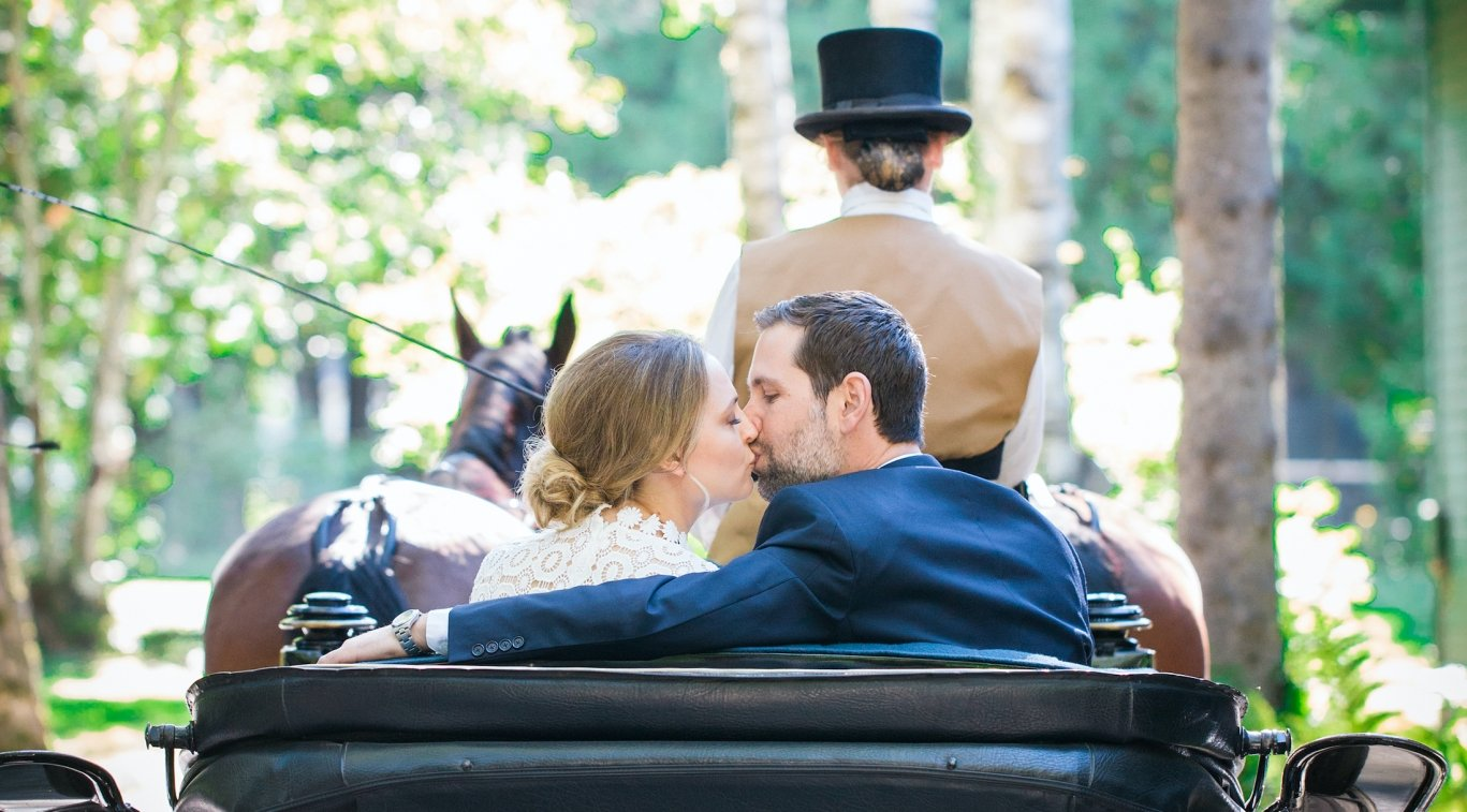Bride and Groom kissing in the back of a horse drawn carriage