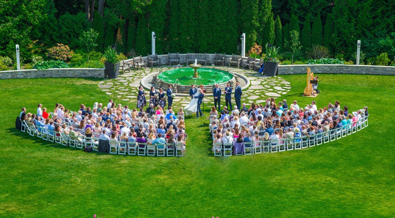 Guests sitting at a wedding on the lawn
