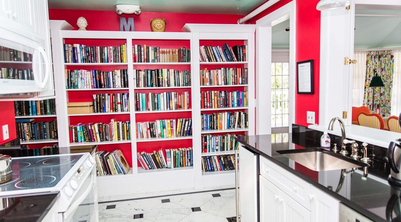 Bookshelves in the kitchen of Masco Cottage