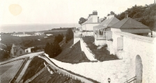 An old black and white photo of Fort Mackinac
