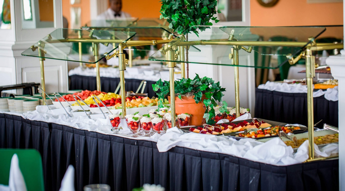 A buffet table