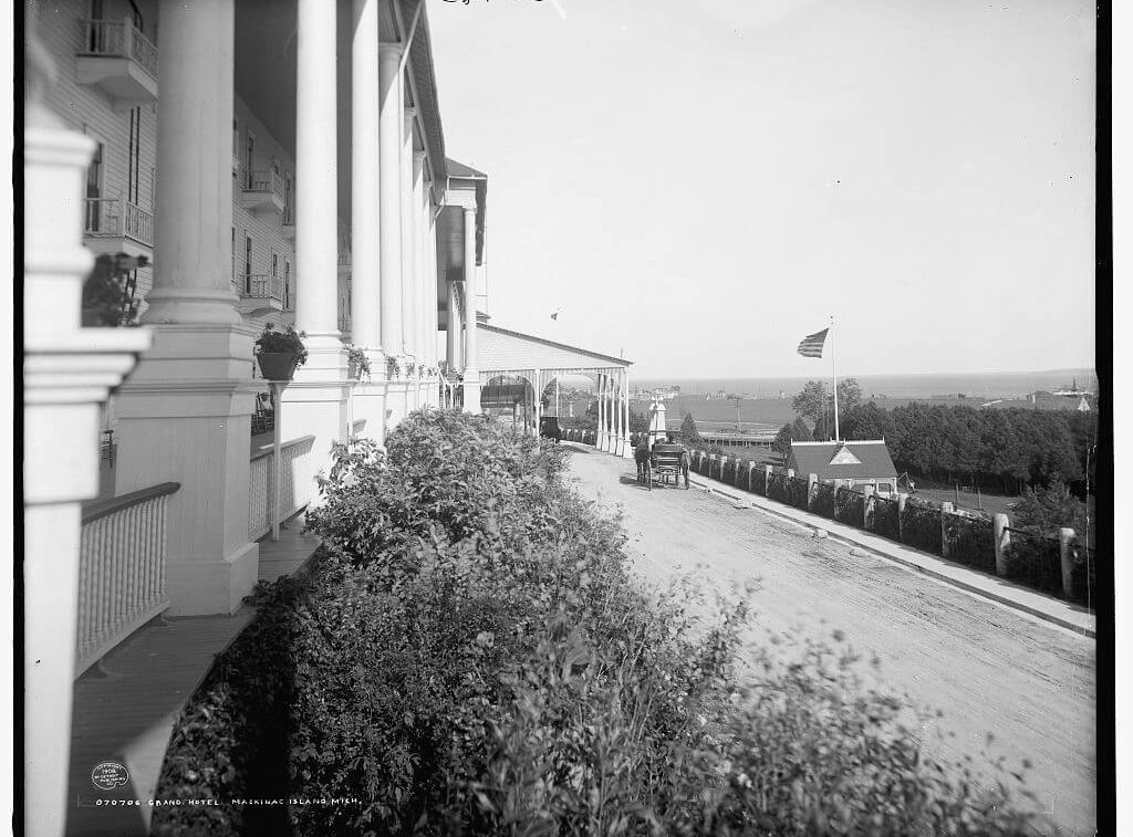 An old black and white photo, the front of the hotel