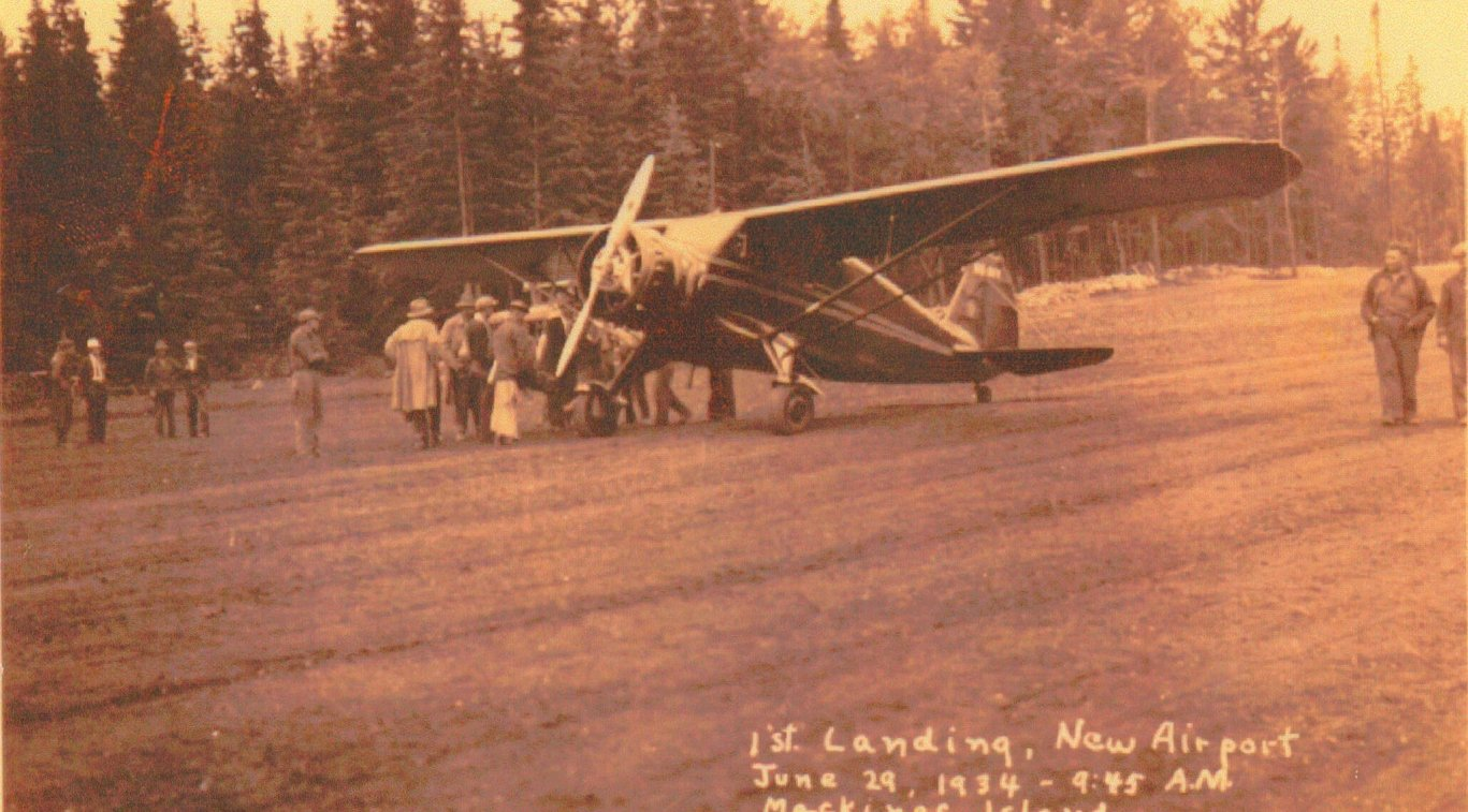 An old photo of an airplane labelled