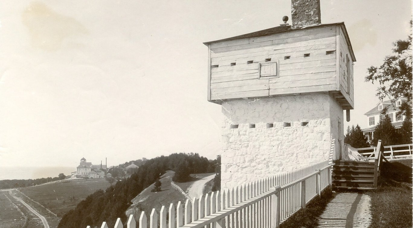 An old black and white photo of the West Blockhouse